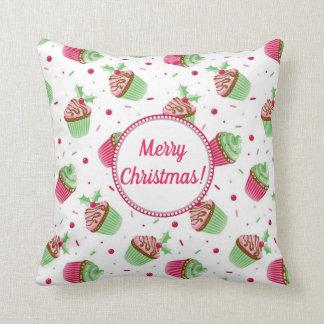 Almofada Design dos cupcakes do Natal com cartões de natal