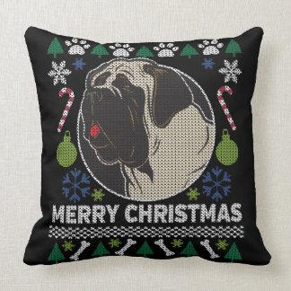 Almofada Design feio do cão da camisola do Natal de