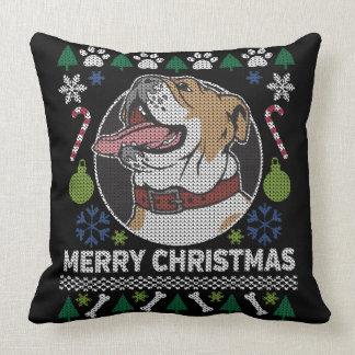 Almofada Design feio do cão da camisola do Natal do