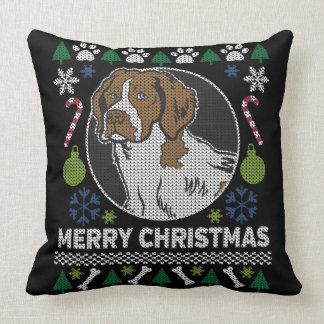 Almofada Design feio do cão da camisola do Natal do Spaniel
