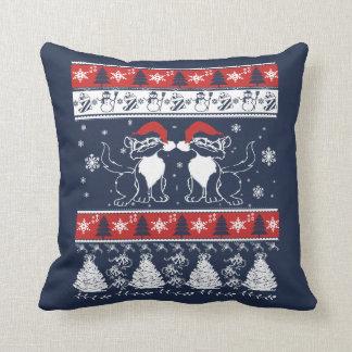 Almofada Design feio do Natal com gatos loucos