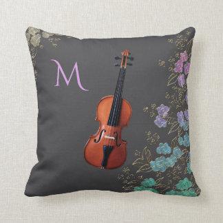 Almofada Design floral do violino do monograma