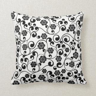 Almofada Design floral preto com fundo customizável