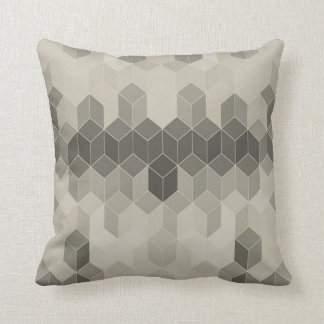 Almofada Design geométrico do cubo da escala cinzenta