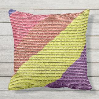 Almofada Design pintado colorido dos tijolos do arco-íris