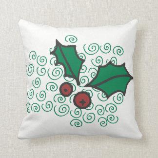 Almofada Design vermelho e verde moderno do azevinho do