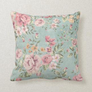 Almofada Do rosa floral da cerceta do chique do vintage