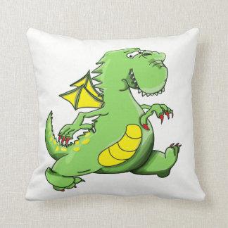 Almofada Dragão verde dos desenhos animados que anda em