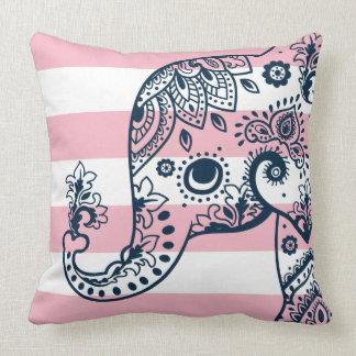 Almofada Elefante azul de Paisley em listras cor-de-rosa &