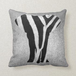 Almofada Elefante preto metálico da pele da zebra das