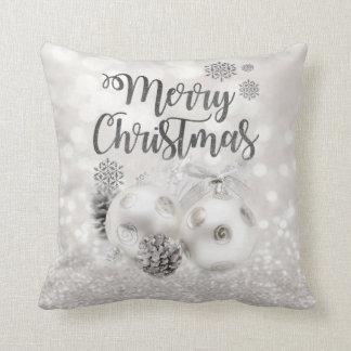 Almofada Elegante, bolas do Natal, Bokeh Glittery