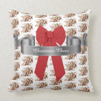 Almofada Elogio vermelho grande do Natal do arco e dos