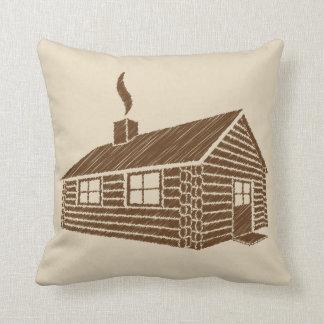 Almofada Esboço da cabana rústica de madeira |