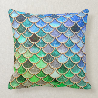 Almofada Escalas brilhantes azuis verdes da sereia do