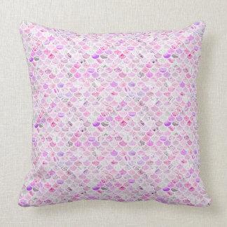 Almofada Escalas de mármore cor-de-rosa & roxas da sereia
