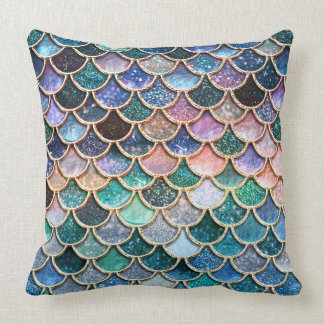 Almofada Escalas multicoloridos luxuosas da sereia do