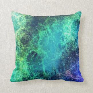 Almofada Espaço verde das chamas azuis da nebulosa