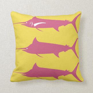 Almofada Espadim azul no travesseiro decorativo cor-de-rosa