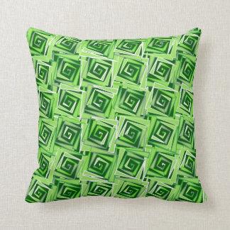 Almofada Espirais quadradas modernas, verde de jade