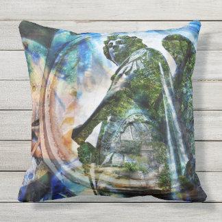 Almofada Estátua clássica azul do anjo - travesseiro