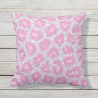 Almofada Estilo do leopardo de neve - rosa de prata