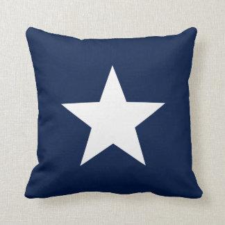 Almofada Estrela branca no travesseiro decorativo dos azuis