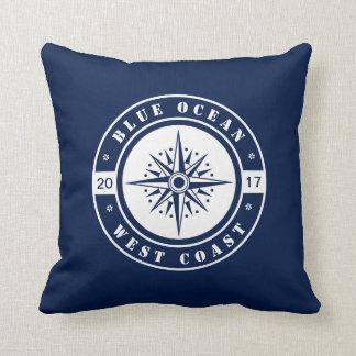Almofada Estrela, compasso, azul e branco náuticos