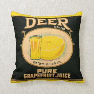 Almofada etiqueta do suco de toranja da marca dos cervos