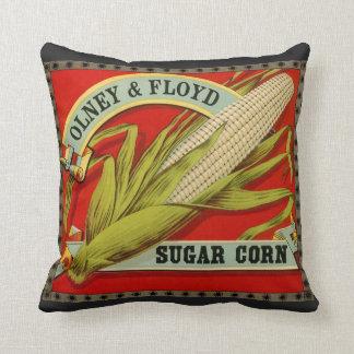 Almofada Etiqueta vegetal do vintage, Olney & milho de