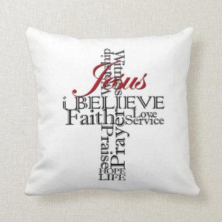 Almofada eu acredito o travesseiro decorativo cristão da fé