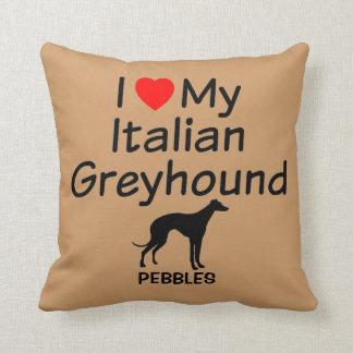 Almofada Eu amo meu cão do galgo italiano