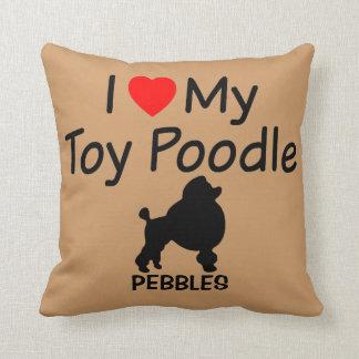 Almofada Eu amo meu travesseiro do cão de caniche do