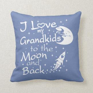 Almofada Eu amo meus netos à lua e à parte traseira