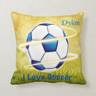 Almofada Eu amo o futebol com monograma