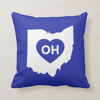 Almofada Eu amo o travesseiro decorativo do estado de Ohio