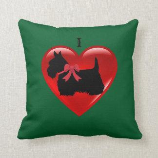 Almofada Eu amo Scottish Terrier, verde vermelho de Kelly