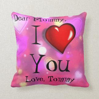 Almofada Eu te amo travesseiro do rosa dos corações da mamã