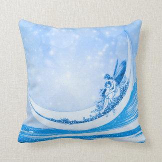 Almofada FADA do LUAR, colagem azul de Bokeh