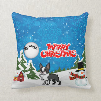 Almofada Feliz Natal Boston Terrier com um boneco de neve