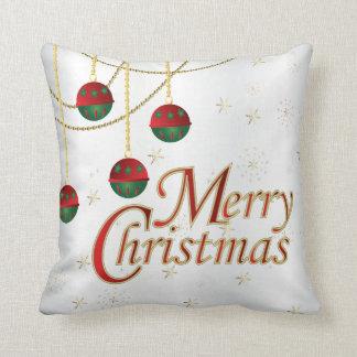 Almofada Feliz Natal do branco, do ouro, o verde e o