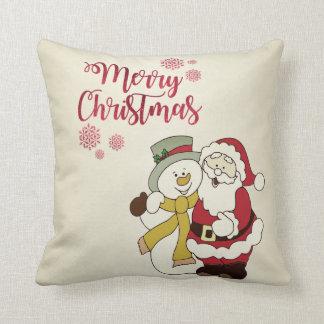 Almofada Feliz Natal, Papai Noel, boneco de neve
