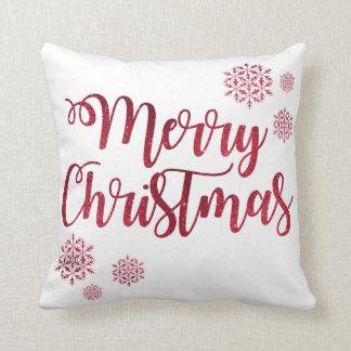 Almofada Feliz Natal vermelho decorativo dos flocos de neve