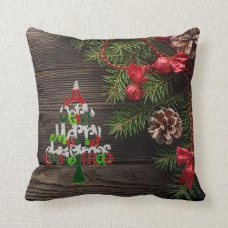 Almofada Feriado rústico da grinalda do país do Feliz Natal