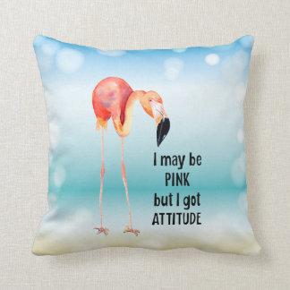 Almofada Flamingo cor-de-rosa fêmea com atitude
