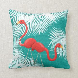 Almofada Flamingos na cerceta e nas folhas de palmeira