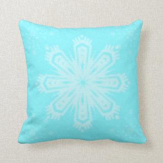 Almofada Floco de neve azul brilhante