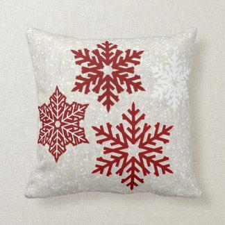 Almofada Flocos de neve vermelhos Sparkling do Natal