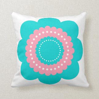 Almofada Flor azul e cor-de-rosa brilhante das bolinhas
