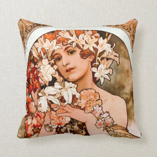 Almofada Flor, belas artes Alphonse Mucha