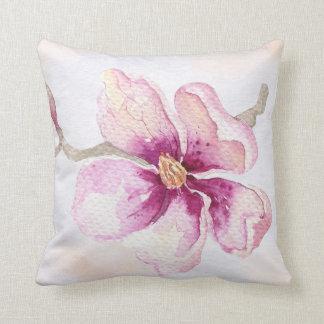 Almofada Flor bonito da magnólia da aguarela